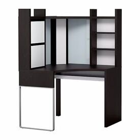 Ikea corner desk/ workstation black-brown