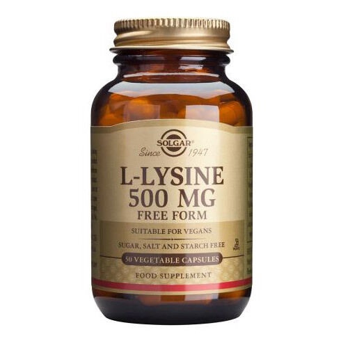 Solgar L-Lysine 500mg 50 VegCaps supports the growth and health of skin tissue