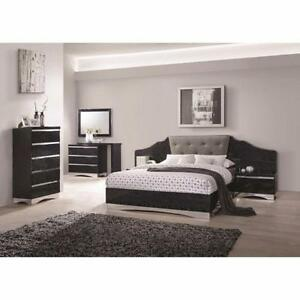 Coaster Furniture Low Profile Bed with Upholstered Panel Headboard