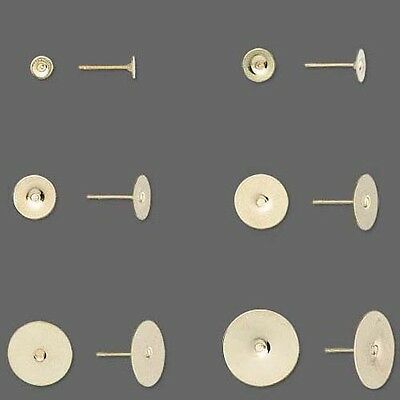 Flat Pad Earring Post Findings, Gold Plated Round Studs for Cabochons Pkg 100