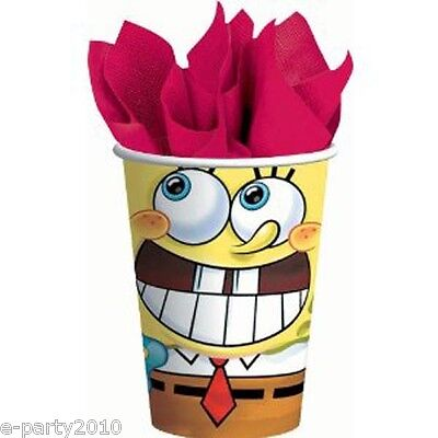 SPONGEBOB SQUAREPANTS Party 9oz PAPER CUPS (8) ~ Birthday Supplies Beverage - Birthday Party Paper Cups