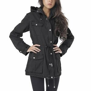 NWT Buffalo David Bitton Women's Anorak Jacket MEDIUM Black Hoody Cotton/Rayon