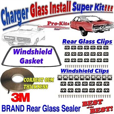 68 69 70 Dodge Charger Windshield Rear Glass Clip Gasket Install Kit ()