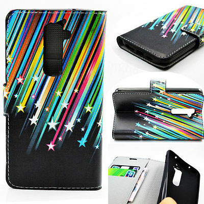 Soft Rubber PU Leather Skin Wallet Flip Phone Cover Case Best For LG G2