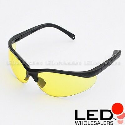UV Ultra Violet Protecting Safety Glasses Yellow Tint Adjustable Frames Goggles