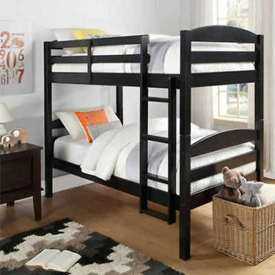 Bunk Bed Matching Over Twin Wood Convertible Bunkbeds Kids Ladder Furniture Black