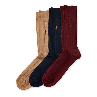 Men's Ralph Lauren 3 Pack POLO Socks 10-13 Ribbed Combed Cotton Trouser Custom