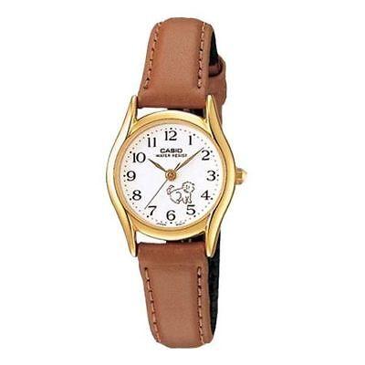 Casio Women's Brown Leather Strap Watch, White Dial, Cat, LTP1094Q-7B7