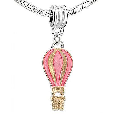 Light Golden Enamel Pink Fire Balloon Charm Charms & Charm Bracelets