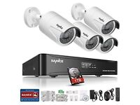 Sannce 4CH 960P PoE NVR HD CCTV Camera System+ 4x 1.30MP HD
