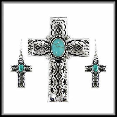 Filigree Christian Cross - FILIGREE TURQUOISE BLUE WESTERN CROSS CHRISTIAN PENDANT NECKLACE EARRING SET