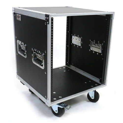 """12 Space Studio Rack Case with 4"""" Caster Wheels ATA-style fits Amp or Effects"""