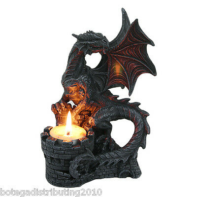 (DRAGON TEA LIGHT CANDLE HOLDER CASTLE FIGURINE MYSTICAL DRAGON STATUE )