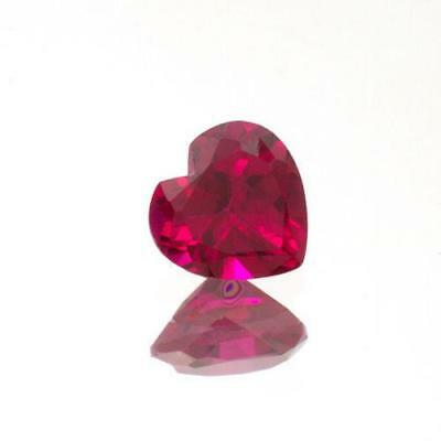Lab Created Ruby Heart - (3mm - 15mm) Heart AAA Lab Created Ruby
