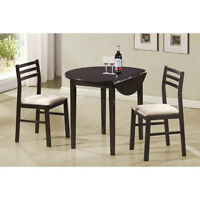 Coaster 3 pc Dining Set in Cappuccino with White Fabric. New