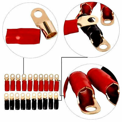 0 Gauge Gold Ring Terminal 20 Pack 10 Awg Wire Crimp Cable Red Black Boots 516