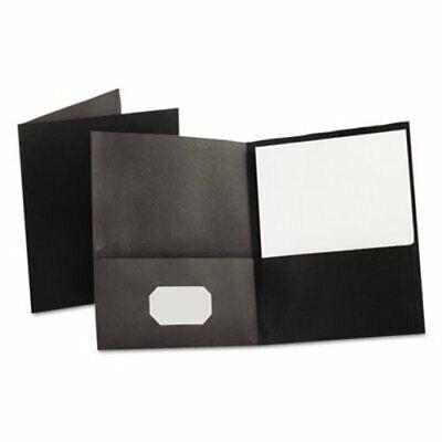 Oxford Twin-pocket Folder Embossed Leather Grain Paper Black Oxf57506