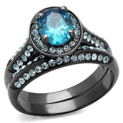 Black Stainless Steel Halo Blue Aquamarine Oval CZ Wedding Engagement Ring -