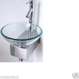 Small Glass Sink : CORNER Bathroom small Sink Basin Glass Bowl + Wall Mounted Stand TAP ...