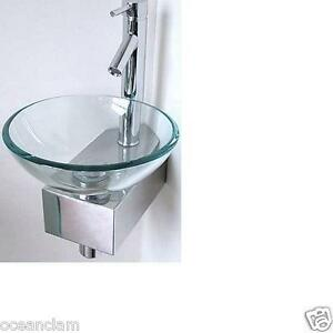 Corner Bathroom Small Sink Basin Glass Bowl Wall Mounted Stand Tap Cloak Room Ebay