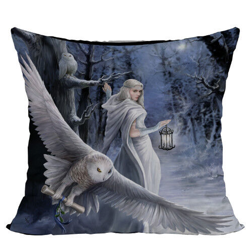 MIDNIGHT MESSENGER Owl Fairy Decorative Pillow Cushion fantasy art Anne Stokes