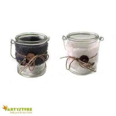 portacandela porta tealight barattolo in vetro decorato 9x10 cm bomboniera