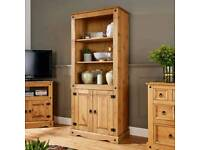 Corona Pine Bookcase with 2 doors - almost new