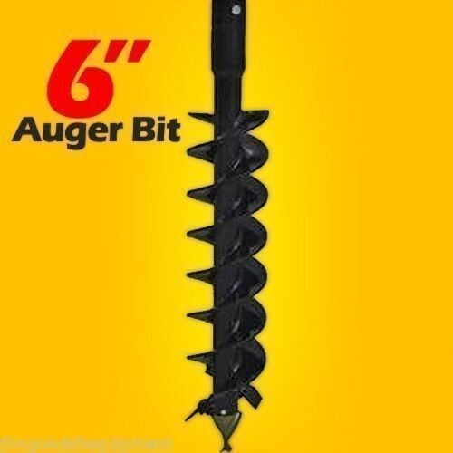 "6"" x 48"" Auger Bit for Skid Steer Auger Drives, 2"" 9/16"" Round Drive"