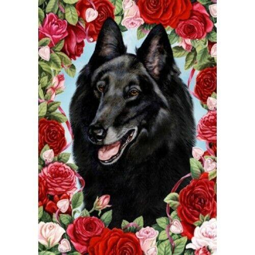 Roses Garden Flag - Belgian Sheepdog 192041