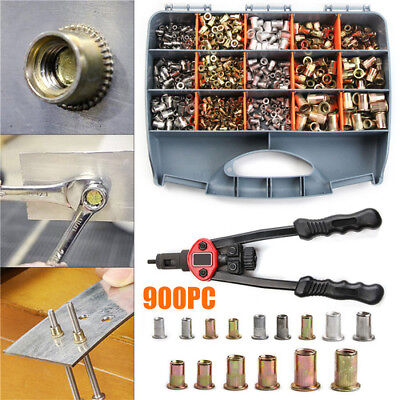 900pcs M3-m10 Nutsert Rivnut Stainless Steel Rivet Nuts Mandrels Hand Tools Kit