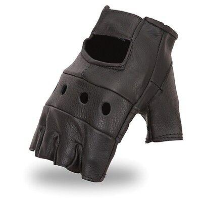 Quality Fingerless Black Genuine Leather Motorcycle Riding Cruising Gloves