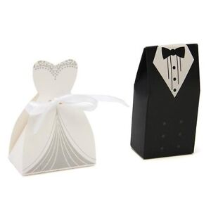 100pcs Tuxedo Dress Groom Bridal Candy Gift Boxes Wedding Party Favour PK