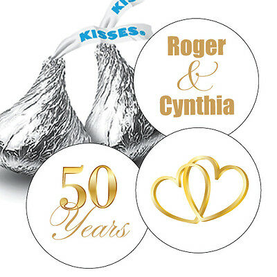 108 Golden 50th Wedding Anniversary Personalized Hershey Kiss Stickers Favors - Wedding Anniversary Favors