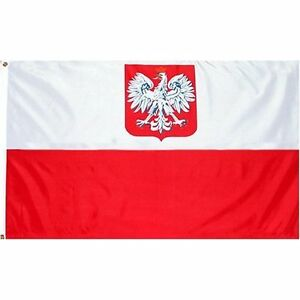 5' x 3' FLAG Poland Polish State Crest National Large New