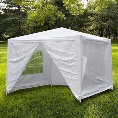 10'x10' 4 Walls Outdoor Canopy Wedding Party Tent Heavy Duty Gazebo Garden BBQ