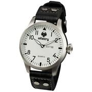 Mens White Leather Strap Watch
