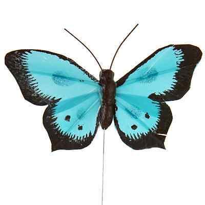 Türkis-hochzeit Dekorationen (6 Schmetterlinge mit Draht - türkis - Hochzeitsdekoration)
