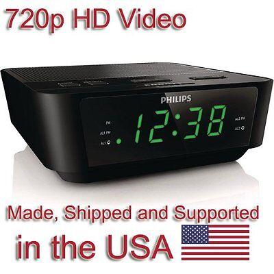 SecureGuard HD 720p Clock Radio Alarm Clock Nanny Cam SPY CAMERA