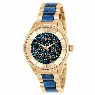 Invicta Women's Angel Blue Crystal & Rose Gold Dial Quartz Watch 25243