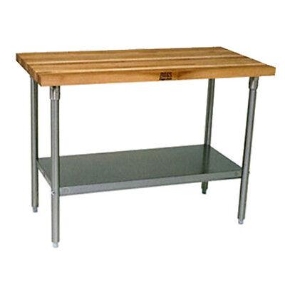 John Boos Jns09 Wood Top Work Table W Undershelf 48w X 30d