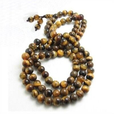 Stretch 108 6mm Tiger Eye Gemstone Yoga Meditation Prayer Bead Mala Necklace 27""