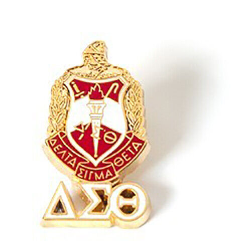 Delta Sigma Theta Sorority Crest with 3 Greek Letter Lapel Pin-New!