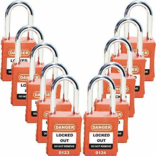 Lockout Tagout Locks- 10 Pack, Bulk- Serialized, Keyed Different- Lock Out