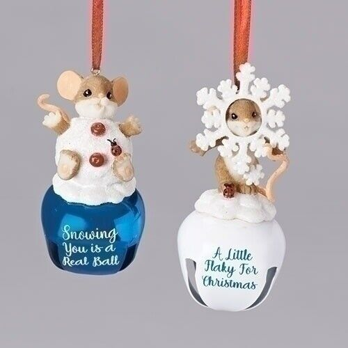Charming Tails Set of 2 Sleigh Bells Christmas Mice Snowflake Hanging Ornaments