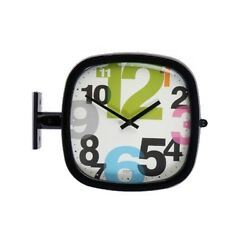 Modern Square Double Sided Wall Clock Design Station Clock Home Decor - P205BKG
