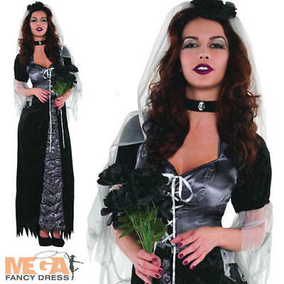 Evil Maiden Ladies Fancy Dress Corpse Bride Adults Gothic Halloween Costume  - Evil Bride Halloween Costume