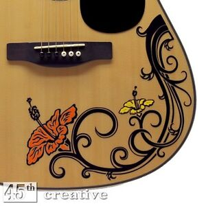 hibiscus flower acoustic guitar decal fender starcaster squire custom sticker ebay. Black Bedroom Furniture Sets. Home Design Ideas