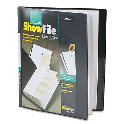 Cardinal ShowFile Display Book w/Custom Cover Pocket 12 Letter-Size Sleeve Black Cardinal Custom Showfile Display Books