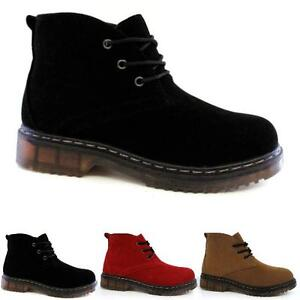 Boots womens suede ankle hiking goth punk biker boots shoes size