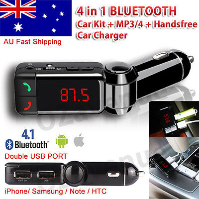 4 in 1 Bluetooth Car Kit FM Transmitter Car Charger MP3 Player USB iPhone 6 7 8